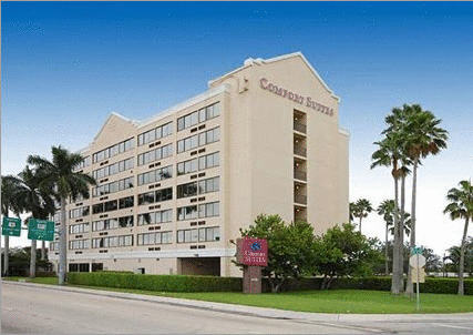 This 111-room 3-star hotel is located just 2 miles from the Fort Lauderdale/Hollywood International Airport, 1 mile from Port Everglades and the Convention Center. We're also just a few miles from Las Olas Boulevard, Wilton Manors and Fort Lauderdale Beach and within walking distance of a huge variety of restaurants and shops. We offer a complimentary Continental Breakfast with Belgian waffles, ham, eggs, pastries, fruit, coffee and juice. Shuttle service to and from the airport and cruise port is provided free of charge – as is wireless internet connection. Work out in our Fitness Room that is available 24/7 and relax at our heated outdoor pool. Our standard suites have a queen-size bed and a sitting area with a couch that opens to another queen-size bed. We have a limited number of rooms with 2 queen-size beds (no sitting area) that are available at a slightly higher rate. Ask for our special RAINBOW RATE which give you a considerable discount off the published rates.<br/>Providing free shuttle service to Fort Lauderdale International Airport as well as to Port Everglades, this hotel offers a number of thoughtful amenities along with easy access to area attractions.